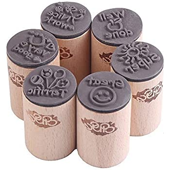CCINEE 可愛い 木製スタンプ 英語勉強 評価印セット 奨励印章 6個セット