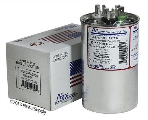 American Standard Replacement - 45 + 10 uf/Mfd 370/440 VAC AmRad Round Dual Universal CapacitorReplacement Made in The U.S.A.