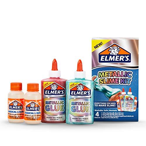 ELMER'S Slime Kit | Suministros de Limo Incluyen Pegamento metálico de, activador de Limo líquido mágico de, Kit de 4 Piezas