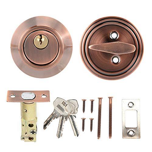 Cerradura de puerta de dormitorio Seguridad antirrobo Cilindro único de acero inoxidable con llaves(Bronce)