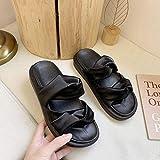 ZSW Soft PU Leather Platform Mujer Zapatillas Ocio Correa Cruzada Chanclas de Playa Mujer Comfort Rubber Flats Slides (Color: Negro Tamaño: 40)-36_Negro