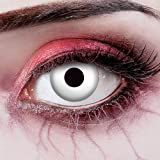 aricona Kontaktlinsen - Lentes de contacto blancas sin dioptrías - Lentes de contacto de color con efecto especial UV para Halloween, carnaval, disfraces, cosplay, 2 piezas
