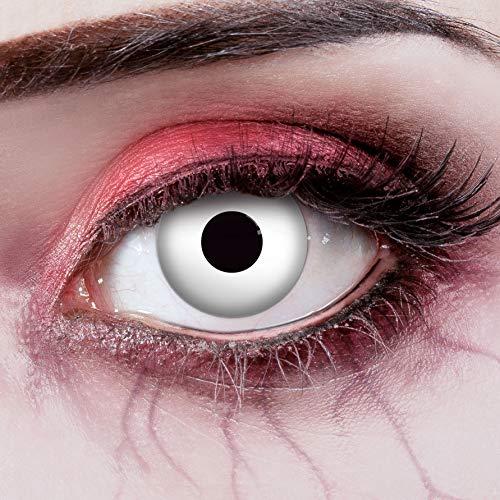 aricona Kontaktlinsen - Weiße UV Kontaktlinsen ohne Stärke - Farbige Kontaktlinsen mit UV Spezialeffekt für Halloween, Karneval, Fasching, Cosplay, 2 Stück