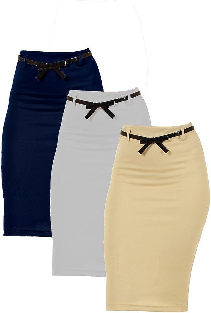 Dinamit Jeans 3 Pack Women's High Waist Below Knee Pencil Skirt