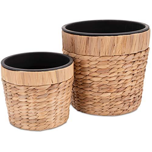 Decorasian Set di 2 vasi da fiori rotondi intrecciati in erba marina con robusto inserto in plastica per piantare – 20 cm + 26 cm