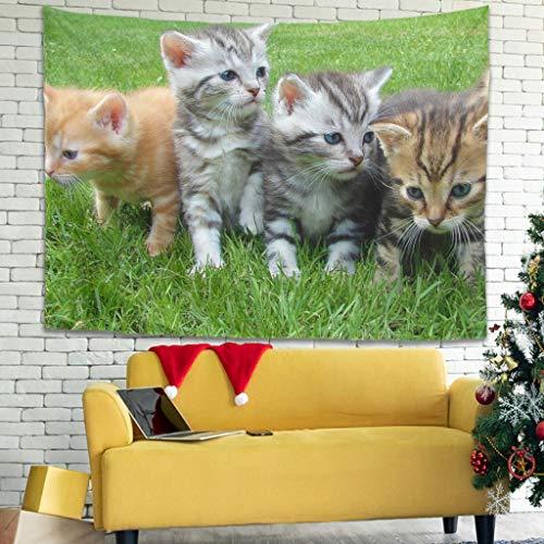 superyu Kitten - Tapiz multifuncional para ropa de cama con arte de pared, para sala de estar, dormitorio, color blanco