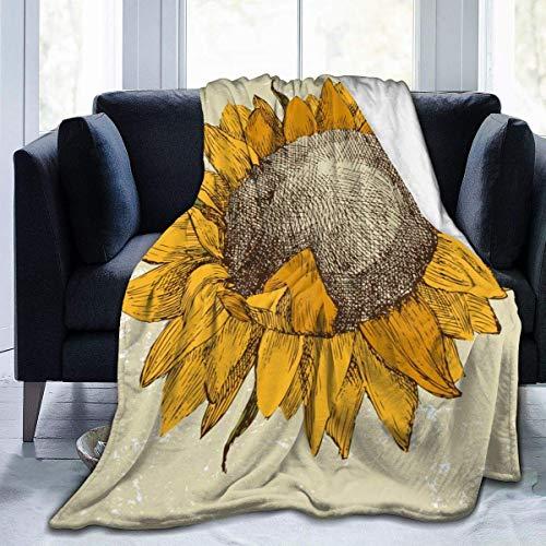 Hoswee Kuscheldecken,Überwürfe Throw Blanket Retro Sunflower Fower Ultra-Soft Micro Fleecedecke 80 X 60 Inches Warm Blanket for Man Office Sofa Living Room Blanket Lightweight Blanket