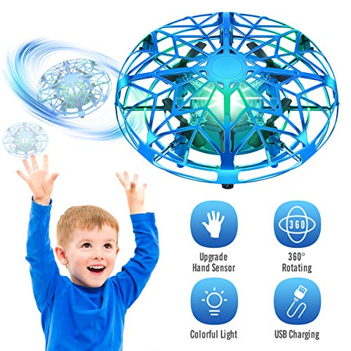 Tesoky Drones for Kids 8-12 Year Old Boys with Colorful LED Lights, Flying UFO Toys for 3-12 Year Old Kids Boys Girls Play Indoor,Best Gifts for 3-12 Year Old Kids Boys Girls-Blue