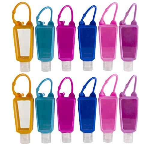 YARNOW Paquete de 12 Botellas de Viaje 30 Ml a Prueba de Fugas Botellas Vacías Recargables Contenedores Dispensador de Botellas de Loción con Gancho Funda de Silicona para Champú Loción