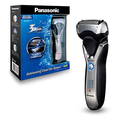 Panasonic Nass/Trocken-Rasierer ES-RT67 mit 3 Scherelementen, ausschiebbarem Langhaarschneider, 5-stufige Akkuanzeige