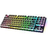 havit 89キー ゲーミング キーボード 青軸 メカニカル キーボード 有線 PBTキーキャップ 14種類RGBバックライト プディングキーキャップ KB851L-US