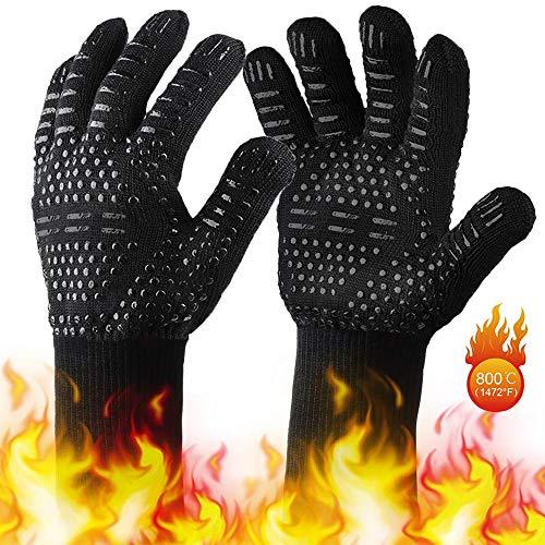 Grillhandschuhe BUDDYGO Ofenhandschuhe Grill Lederhandschuhe Hitzebeständige bis zu 800 ° C Universalgröße Kochhandschuhe Backhandschuhe für BBQ Kochen Backen und Schweißen