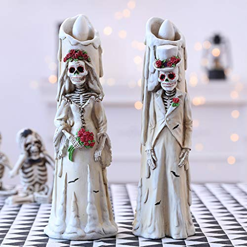 DENGHENG Spooky Skeleton Bride and Groom Wedding Couple Statue for Halloween Party Decorations or Scary Gothic Décor Figurines As