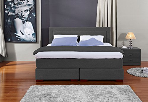Möbelisten Designer Boxspringbett Los Angeles, Made in Germany, Tonnentaschenfederkern in der Box UND in der 7-Zonen Matratze, Visco Topper, Anthrazit, H2/H3, 180x200cm