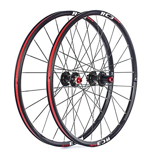 MZPWJD Ruedas Bicicleta Montaña Ruedas Juego 24 Pulgadas MTB Llanta 24H Eje Pasante Carbon Buje Disco Freno Bici Rueda para 7/8/9/10/ 11 Velocidad Cassette 1770g (Color : Black, Size : 24'')