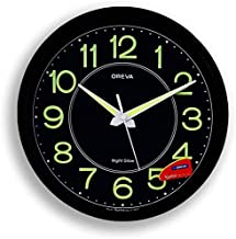 Oreva Night Glow Round Plastic Analog Wall Clock (30.6 cm x 4.25 cm x 30.6 cm, Black, AQ-1837)
