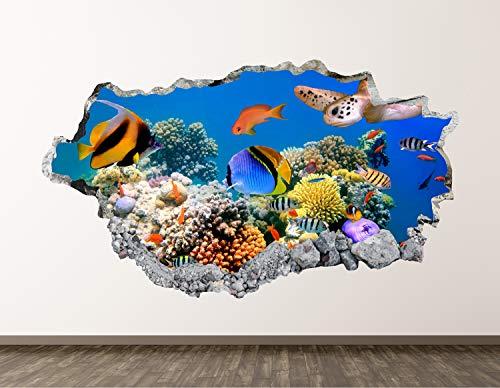 West Mountain Aquarium Wall Decal Art Decor 3D Smashed Ocean Living Room Sticker Mural Home Gift BL08 (22' W x14 H)