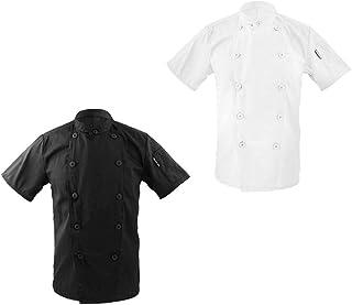 088ae4f132e MagiDeal 2 Piezas Chaqueta de Unisex Cuello Mandarín Manga Corta Chef  Escudo Uniforme Superior Negro +