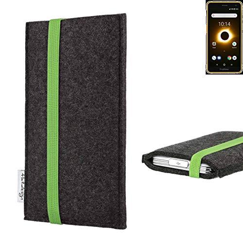 flat.design vegane Handy Tasche Coimbra für Ruggear RG650 - Schutz Hülle Tasche Filz vegan fair grün