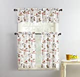 No. 918 51107 Brew Coffee Print Microfiber 3-Piece Kitchen Curtain Set, 54' x 36', White