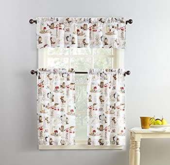 No 918 51107 Brew Coffee Print Microfiber 3-Piece Kitchen Curtain Set 54  x 36  White