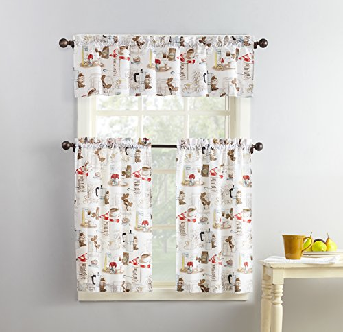 "No. 918 51107 Brew Coffee Print Microfiber 3-Piece Kitchen Curtain Set, 54"" x 36"", White"