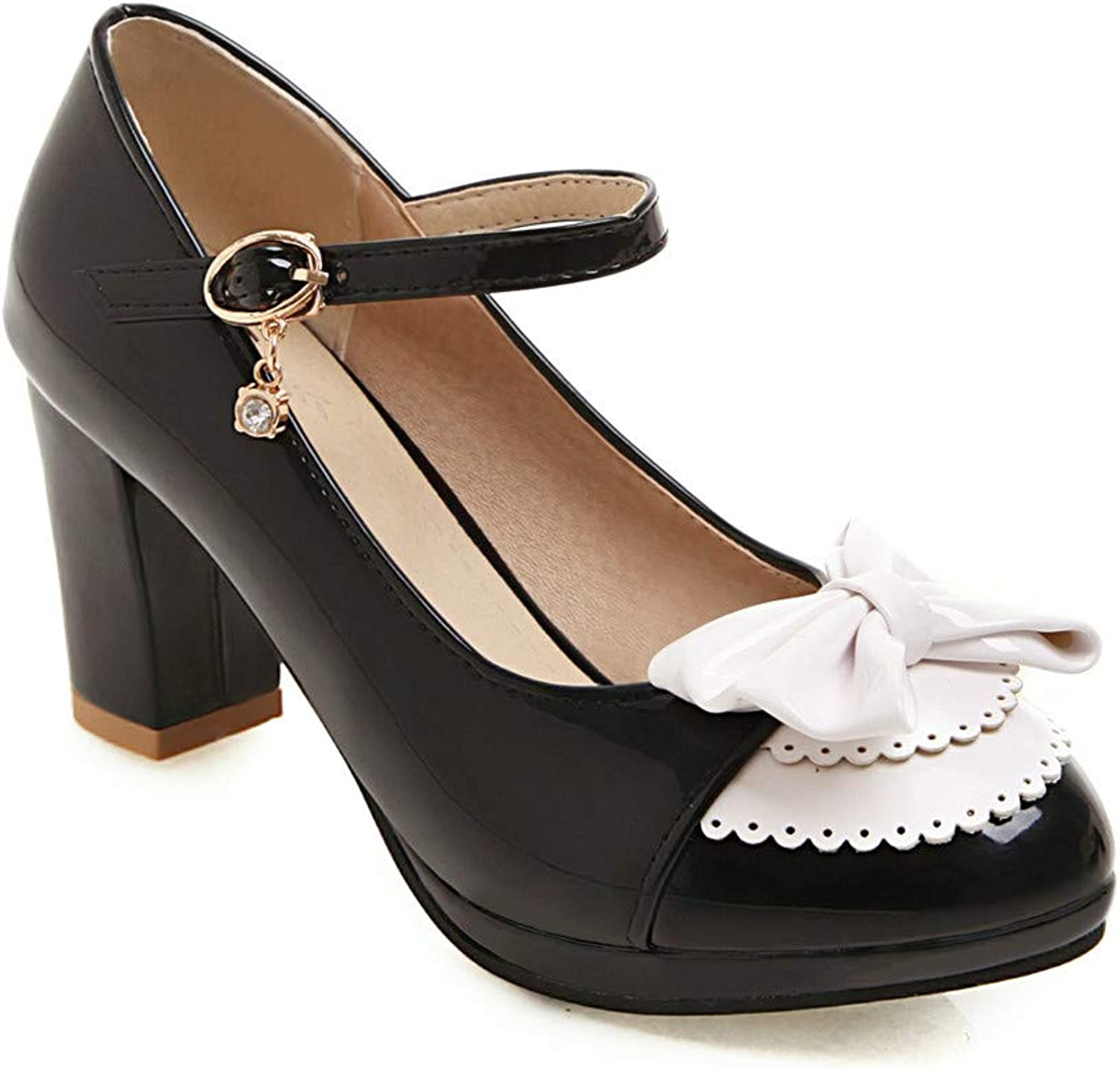 HILIB Woman's Middle Heel Lolita shoes Cute Bowknot Mary Jane shoes
