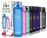 HoneyHolly Botella de Agua Deportes 350ml/500ml/800ml/1000ml/1500ml Sin Bpa & Apertura con un Solo botón Reutilizable Filtro Botella Gimnasio Tritan Plástico para Niños, Sport, Gimnasio, Trekking