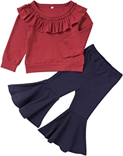 2PCS Toddler Baby Girls Clothes Ruffle Long Sleeve T-Shirt Tops+ Flare Pants Autumn Outfits for Girls