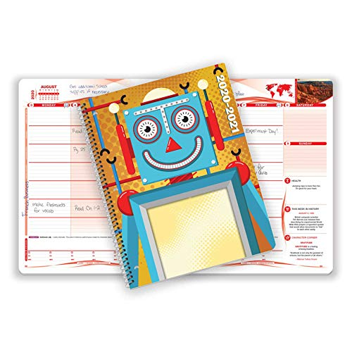 Dated Middle or High School Student Planner 2020-2021 Academic Year, 8.5x11 inch Matrix Style Datebook with Telluride Robot Cover
