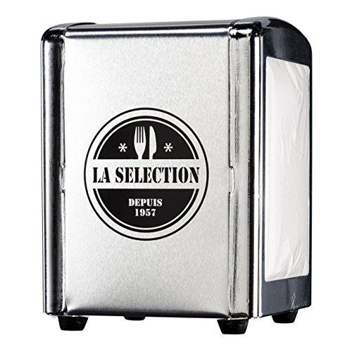 Saveur et Degustation KA1437 Distributeur de Serviette + Serviette Acier Inoxydable Noir/Rouge/Argent 10,8 x 9,6 x 14,7 cm - Coloris Aléatoire