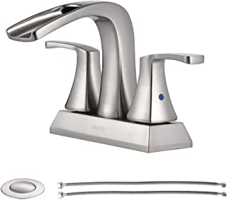 PARLOS 2 Handles Waterfall Bathroom Faucet with Pop-up Drain and Faucet Supply Lines, Brushed Nickel, Doris 14068