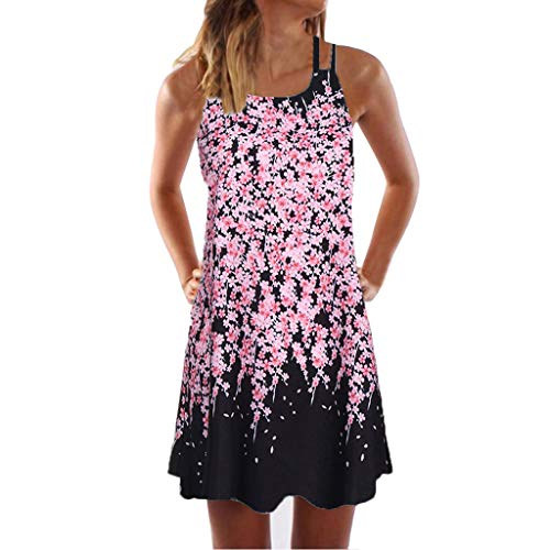 VEMOW Sommer Elegante Damen Frauen Lose Vintage Sleeveless 11D Blumendruck Bohe Casual Täglichen Party Strand Urlaub Tank Short Mini Kleid