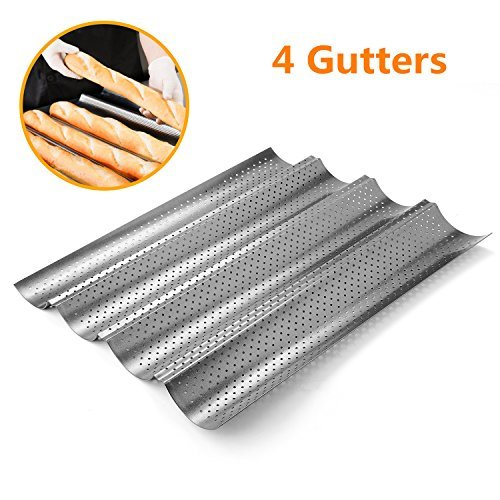 Perforated Baguette Pan, Homono Non-Stick Perforated French Bread Pan Wave Loaf Bake Mold, 15 by 13 by 1 inch 4 gutters (Color: grey metallic)