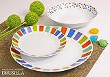Offerta servizio piatti moderni da tavola colorati in ceramica di design completo per 6 pe...
