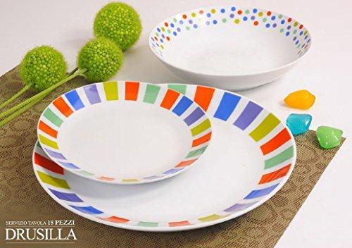 Offerta servizio piatti moderni da tavola colorati in ceramica di design completo per 6 persone da 18 pezzi: 6 piatti fondi, 6 piatti piani, 6 piatti frutta eleganti e particolari per la cucina