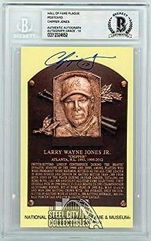 Chipper Jones Autographed Hall of Fame Plaque Slabbed Postcard - BAS 10 - Baseball Slabbed Autographed Cards