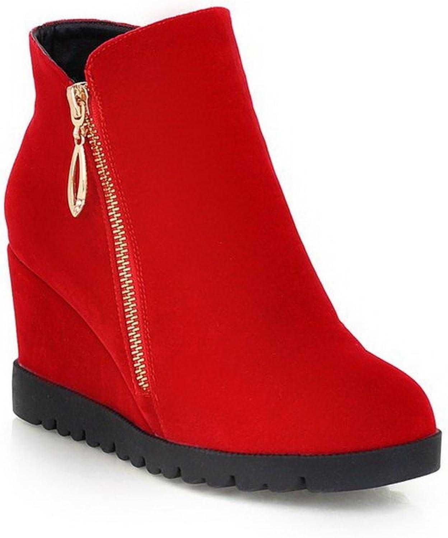 AdeeSu Womens Comfort Wedges Slip-Resistant Zipper Suede Boots SXC01802