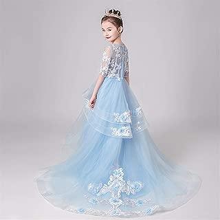 Luxury Children Princess Dress Trailing Wedding Dress Flower Girl Dress Girl Pompon Yarn Catwalk Little Girl Piano Performance Clothing ryq (Color : Blue, Size : 150cm)