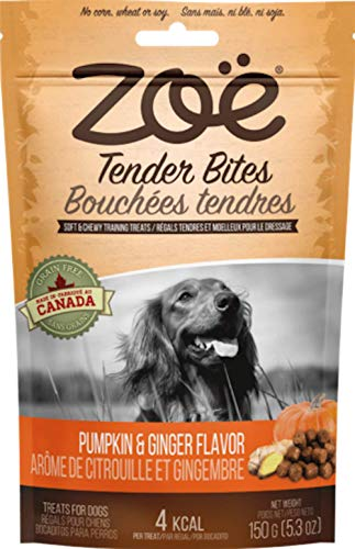 Zoe Tender Bites for Dogs, All Natural Dog Treats, Pumpkin and Ginger, 5.3 Oz (Package May Vary)