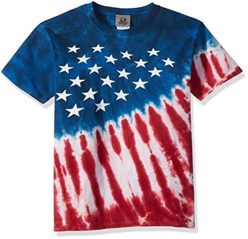 Liquid Blue Kids' Big Patriotic Stars & Stripes Short Sleeve T-Shirt, tie/dye, X-Large