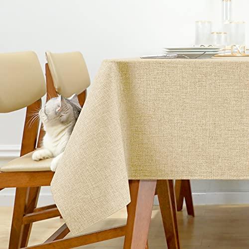 Joywell Leinen Optik Tischdecken Abwischbare Tischtuch Wasserabweisend Outdoor Tischwäsche Schmutzabweisend Lotuseffekt Kneipe 130x220 cm Beige