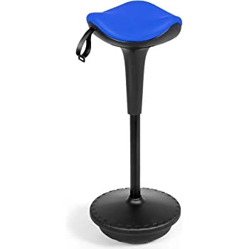 "Giantex Wobble Stool Standing Desk Chair W/Adjustable Height 25.5""-33"" and Saddle Seat for Home and Office Swivelling Balance Perch Stool(Blue & Black)"