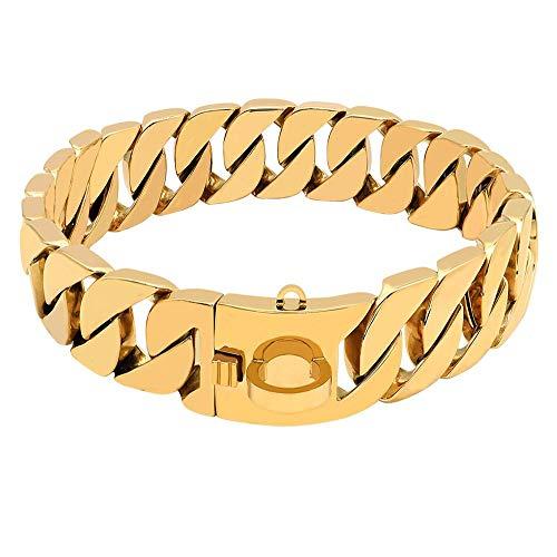 XYBB Collar de Perro Collar de Cadena de Perro de Metal Fuerte para Perros Grandes Pitbull Bulldog Silver Gold Show Collar 55cm Negro