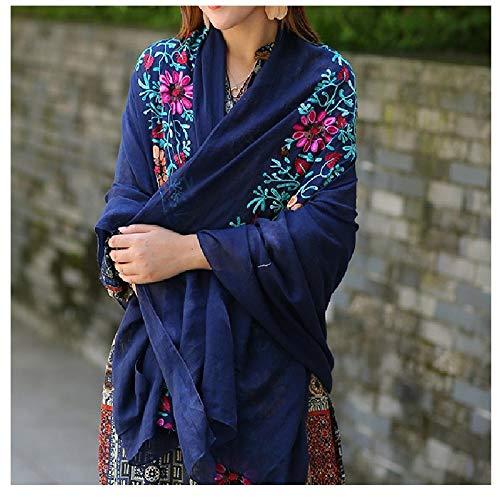 Bufanda femenina, algodón, chal de lino, aire acondicionado y protector solar bufanda de seda con bordado de playa de doble uso-re