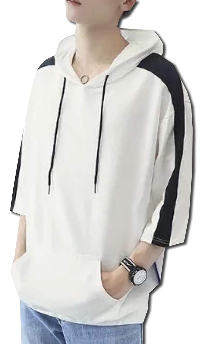 炭水化物インデックスアセ[ボルソ] 7分袖 ゆったり ビック シルエット パーカー メンズ (ブラック、ホワイト、ブルー) M ~ XXL