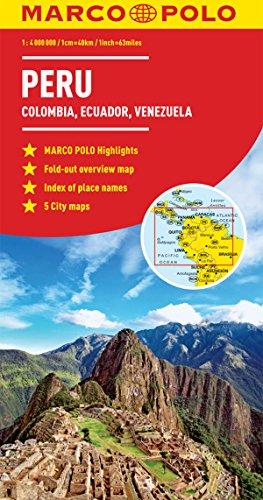 Peru, Colombia, Venezuela Map: Ecuador, Guyana, Suriname