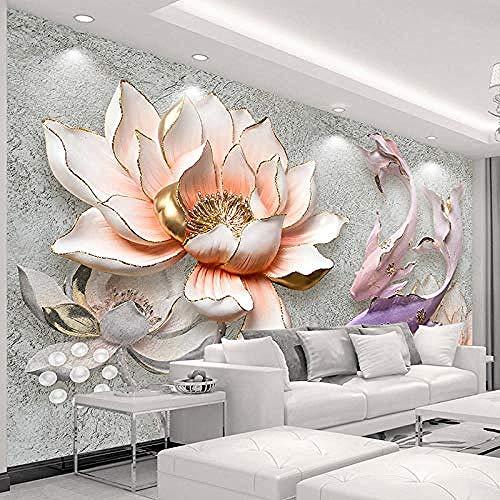 Wandmalereien Moderne 3D geprägte Lotusblume Fisch Tapete Schlafzimmer Wohnzimmer Sofa TV Hintergrundwand Tapete wandpapier fototapete 3d effekt tapeten Wohnzimmer Schlafzimmer-300cm×210cm