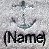 Adulte Peignoir de bain avec une Ancre Logo et nom de votre choix en blanc, taille M,...