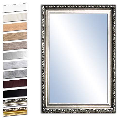 Bilderdepot24 Wandspiegel Spiegel Badspiegel Holzrahmen komplett mit Echtglas - Silber Antik - ca. 100x70 cm
